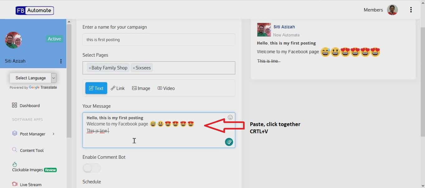 2. How to FB Auto Post Editor Moment7